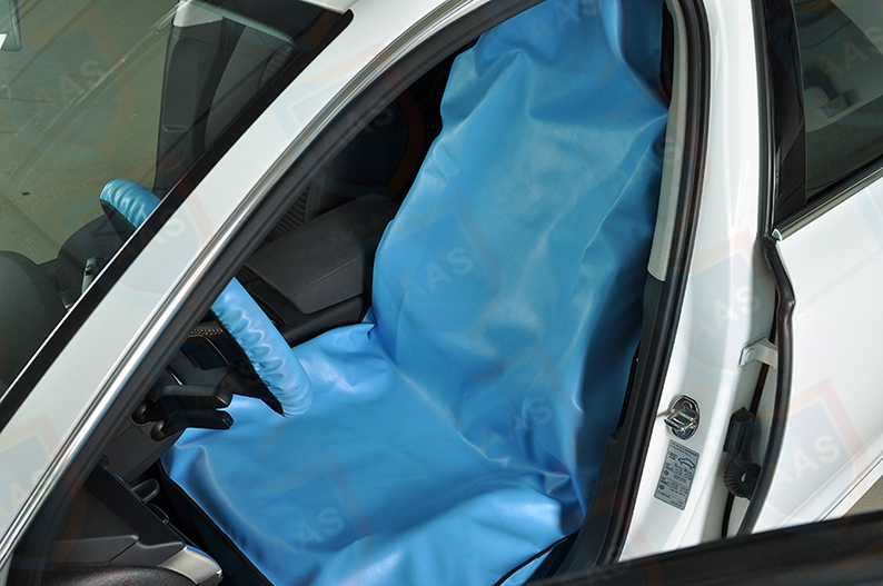 blue leather seat cover